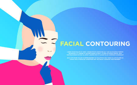 Facial contouring Vector poster template in flat design