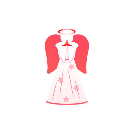 Angel Vector isolated icon in flat design Christmas traditional symbol with cute angel in pink color