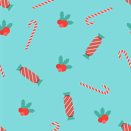 Seamless pattern Bright candy canes and season berries on light blue background