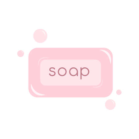 Soap isolated icon Vector illustration in flat design Pink bar of soap with foam bubbles on white backdrop Archivio Fotografico - 158808247