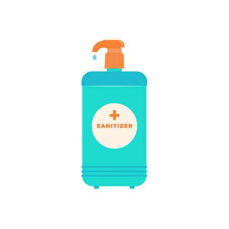 Sanitizer isolated icon Vector illustration in flat design Liquid turquoise antiseptic with mechanical orange dispenser on white backdrop