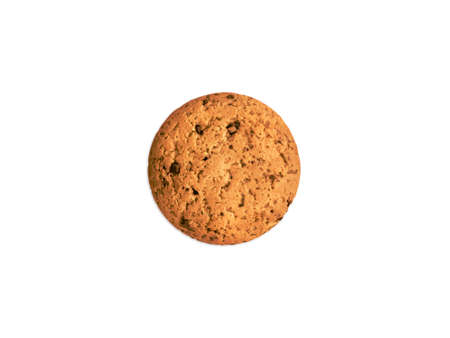 One cookie with chocolate chips on white background Archivio Fotografico - 158648328