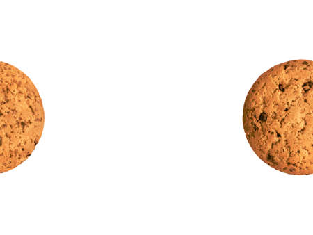 Oatmeal cookie Close up photo for poster and banner Homemade cookie isolated on white background with copy space Archivio Fotografico - 158648823