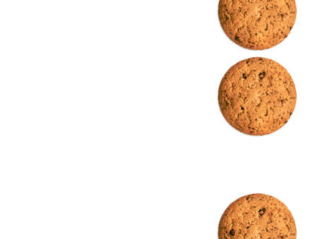 Homemade biscuits Template for posters and banners with copy space Three oat cookies isolated on white background Archivio Fotografico - 158648743