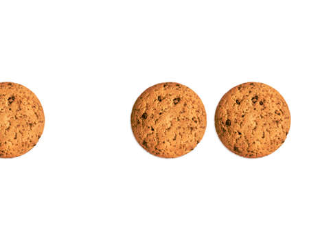 Isolated oat cookies Top view photo with copy space Biscuits with chocolate chips on white backdrop Archivio Fotografico - 158648649
