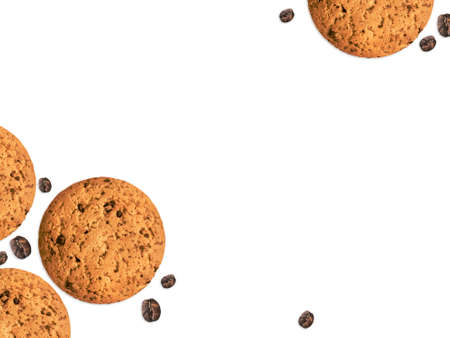 Poster template with cookies and empty space Chocolate chips biscuits with copy beans on white backdrop