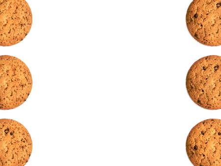 Poster template with oat cookies Top view photo Many biscuits in two rows on white background Archivio Fotografico - 158648826
