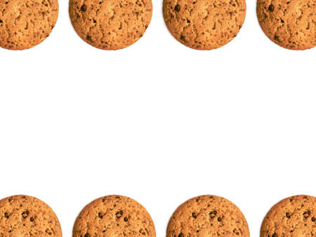 Oat cookies Photo template with empty space Many biscuits are lying on white background