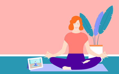 Online yoga Vector illustration Smiling ginger woman in lotus pose is meditating at home Bright poster template with copy space