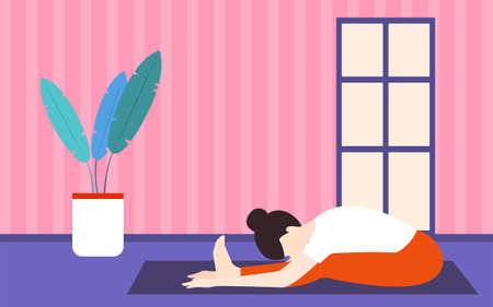 Home yoga Vector illustration Woman is training on yoga mat at her home Vettoriali