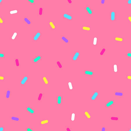 Vector seamless pattern of pink donut glaze with colorful decorative sprinkles Bright icing with colorful decorative sprinkles on pink background Flat design