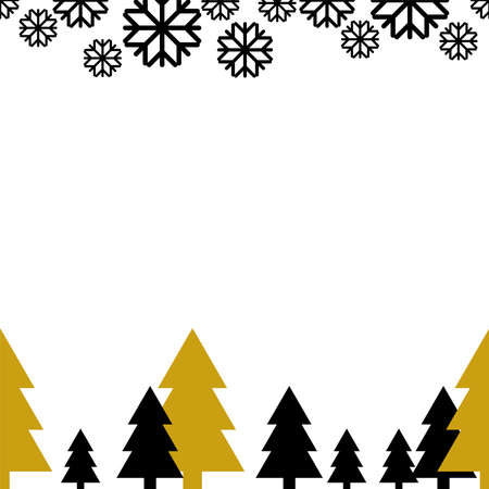 Christmas vector seamless print for greeting card Gold and black pine trees and black flying snowflakes on white backdrop Vettoriali
