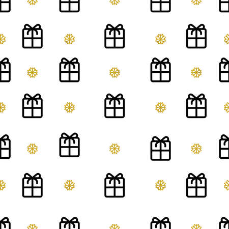 New year seamless pattern in thin line style Gifts boxes and golden snowflakes on white background Vettoriali