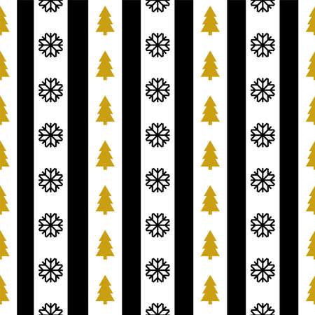 Vector seamless pattern with Christmas symbols Wrapping paper Two-tone striped texture with black snowflakes and gold pine trees