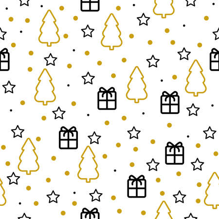 New year print Vector illustration in thin line style Seamless pattern Gold and black Christmas tree, gifts, stars and dots on white backdrop