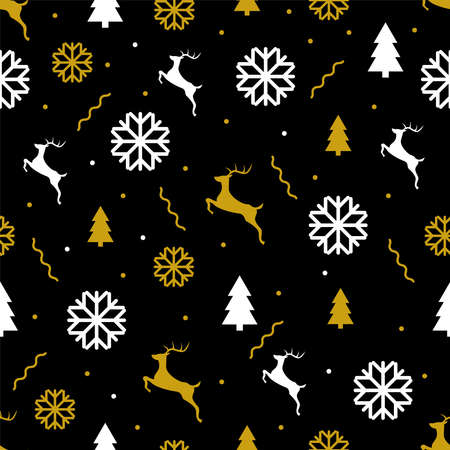 Christmas holiday vector seamless pattern in flat design New year symbols, snowflakes, deers, fir trees and confetti on black background Vettoriali