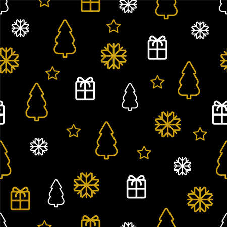 New year print Vector illustration in thin line Seamless pattern with golden and white Christmas symbols on black backdrop