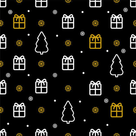 New year symbols Vector seamless pattern in thin line style Gifts, Christmas trees, snowflakes and dots on black background Vettoriali