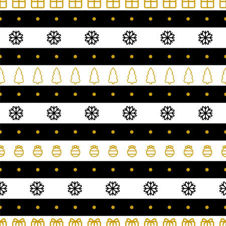 Christmas gifts wrapping paper Vector illustration Striped seamless pattern with snowflakes, pine trees, gifts and baubles on black-white backdrop