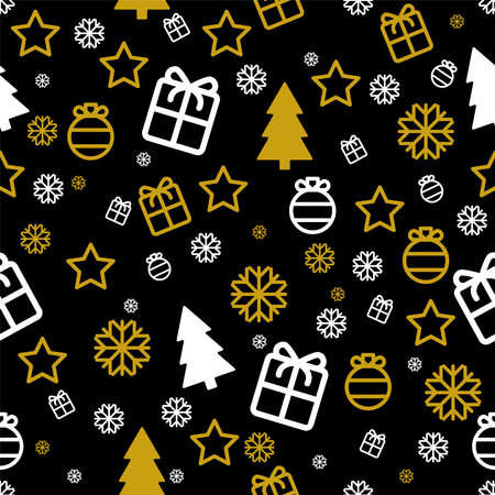 Christmas seamless pattern Vector wrapping paper template White and gold icons gifts, snowflakes, baubles, stars and fir trees on black backdrop Vettoriali