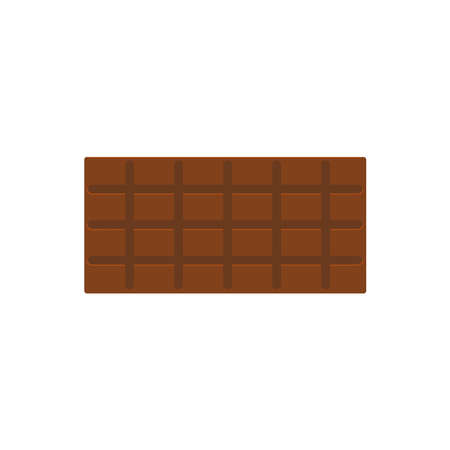 Milk chocolate Isolated icon in flat design Vector illustration of full chocolate bar on white background Vettoriali