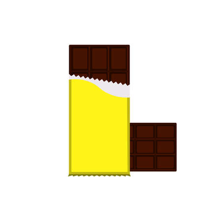 Chocolate bar Isolated icon in flat design Vector illustration of dark chocolate in opened bright yellow pack Vettoriali