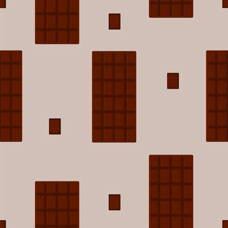 Chocolate Vector seamless pattern Milk chocolate in bars on beige background Vettoriali