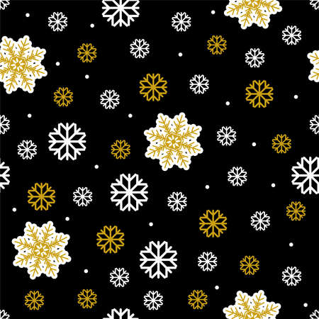 Vector seamless pattern with snowflakes Wrapping paper Many different gold and white snowflakes on black background