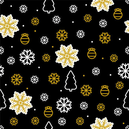 Christmas vector seamless pattern with New year symbols Snowflakes, pine trees, baubles and dots in gold and white colors on black background Vettoriali