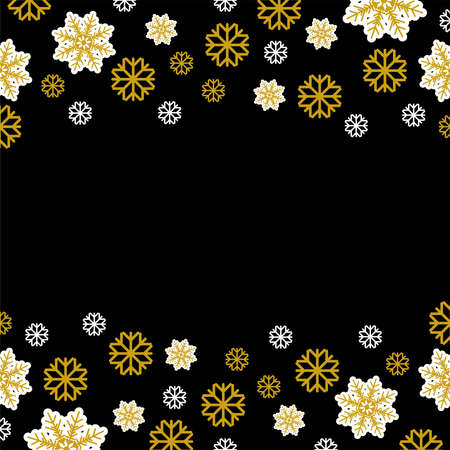 Snowflakes Vector illustration in flat design Many white and gold snowflakes on black background Template for greeting cards, poster and banners