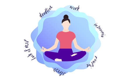 Meditation Vector illustration in flat design Archivio Fotografico - 159496590