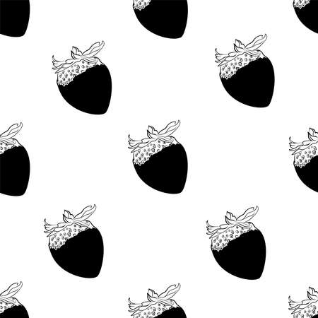 Seamless pattern Berry in chocolate Line drawing Vettoriali