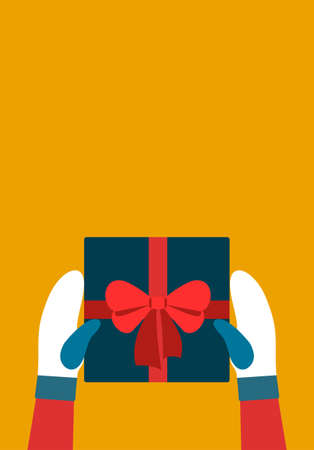 Christmas gift Vector template for banners and postcards with copy space Girl in two-tones mittens is holding blue gift box with red ribbon on orange backdrop