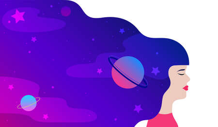 Dream universe Vector illustration in flat design Young girl with closed eyes with starry night space in her long hair on white backdrop