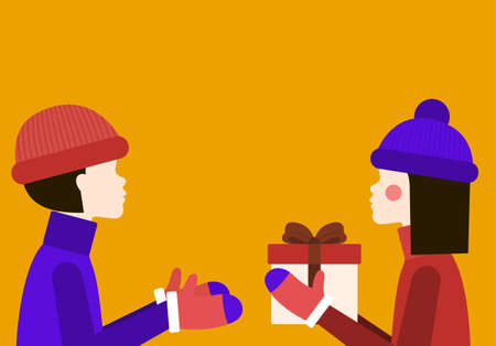 Gift Vector illustration in flat design Template with copy space Girl in winter clothes is giving her boyfriend present with red ribbon