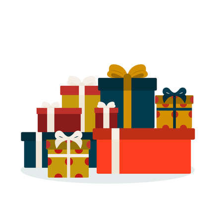 Heap of gifts Vector icon in flat design Different presents with ribbons and bows isolated on white background