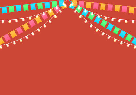 Flags and garlands Vector illustration with copy space Blue and orange flags and festive lamps on red backdrop Flat design