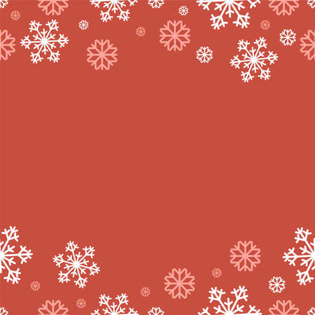 Snow Vector illustration with copy space Flat design Poster template with pink and white snowflakes on red backdrop