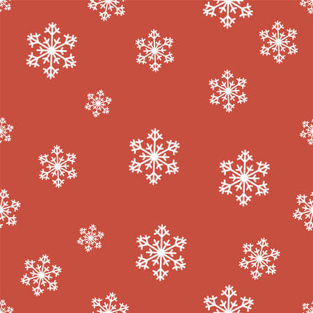 Snowflakes Vector seamless pattern Christmas wrapping paper Small and big lacy snowflakes on red background Flat design Vettoriali