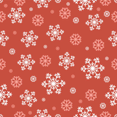 Snowflakes vector seamless pattern in flat design Many lacy white and pink snowflakes on red background