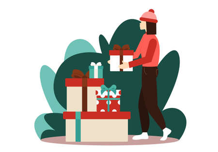 Girl in winter clothes is carrying present to heap of gift boxes