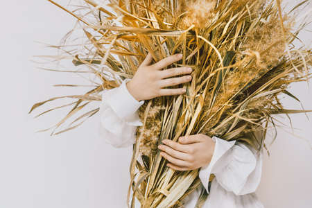 Dry flowers Conceptual photo in minimal style Girl in white vintage dress is holding armful of dried plants