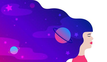 Dream universe Vector illustration in flat design
