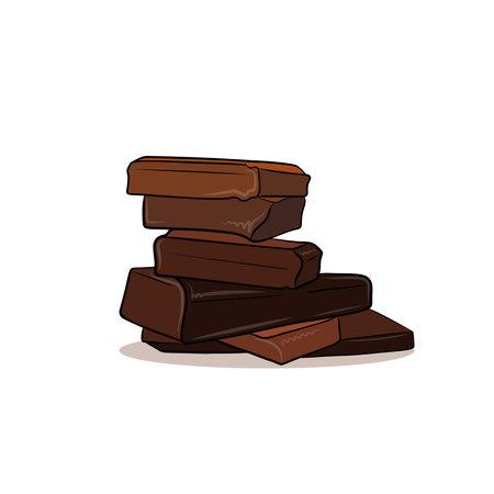Chocolate pieces Vector illustration Cartoon style