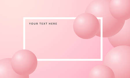 3D balls Vector illustration in minimal style Design template with spheres and white frame in pastel colors with copy space