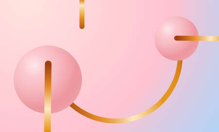 3D design concept in art deco style Vector illustration Vector illustration Pink spheres with gold frames on pastel gradient backdrop