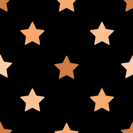 Seamless pattern with stars in flat design Vector illustration with stars print on black background.