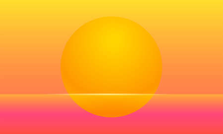 Setting sun Vector illustration for posters and banners Futuristic landscape in retro style with light flash on sunset sea