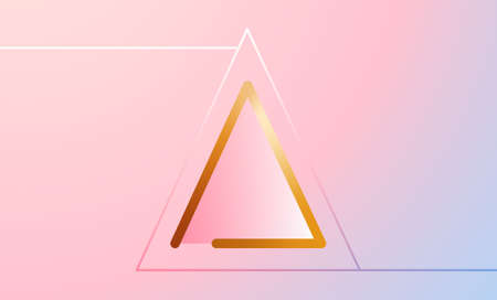 3D geometric vector template for posters and banners Bright gold triangle with thin white line frame on gradient pastel background Vettoriali