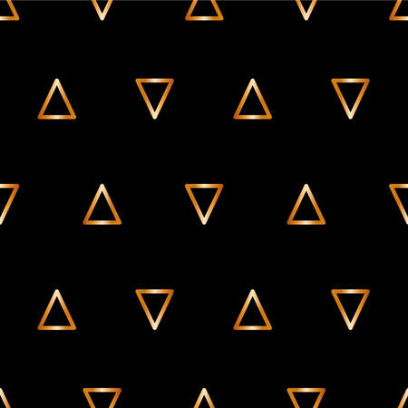 Gold seamless pattern Vector illustration for wrap and posters Bright golden line triangles on black background